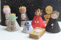 Star Wars Krippe zum runterladen als Free Printable. Star Wars Navidad, Natal Star Wars, Star Wars Christmas Tree, Kids Christmas, Xmas Tree, Merry Christmas, Star Wars Party, Free Printables Weihnachten, Printable Star Wars