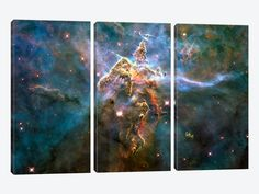 Mystic Mountain in Carina Nebula (Hubble Space Telescope) by NASA 3-piece Art Print