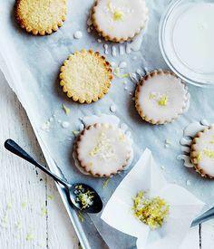 Australian Gourmet Traveller recipe for lemon-glazed biscuits.