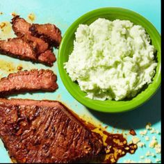 Wasabi mashed potatoes, Marinated flank steak and Flank steak on ...