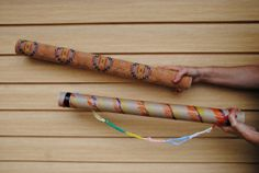 two homemade rainsticks