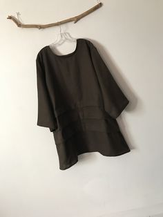Handmade to measure linen tunic by Anny Custom sizes and colors brown linen