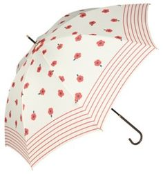 Flirty Floral Rain Umbrella Surround yourself with fun flowers whenever you face the rain! This flirty fashion accessory is covered with white and red flowers on a solid black background. A wide border of classy white stripes adds an extra touch of class.