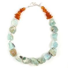 Limonium Necklace - made with rough amazonite and Baltic amber.