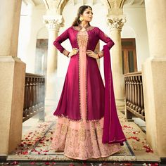23ccbf32fa387 Buy Mesmerising Peach Colored Designer Embroidered Partywear Georgette  Abaya Style Anarkali Suit Online India, Best