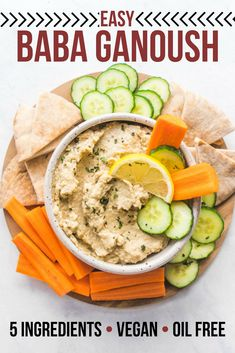 This Baba Ganoush Recipe is easy, healthy, oil-free, and naturally gluten-free! This smoky, silky dip is perfect with some warm pita, or alongside roasted vegetables. #vegan #plantbased #glutenfree #grainfree #babaganoush #eggplant #dip #spread via frommybowl.com