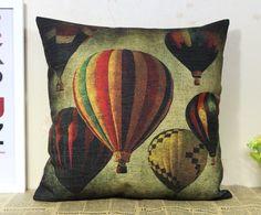 Cotton Linen Hot-air Balloon Decorative Throw Pillow
