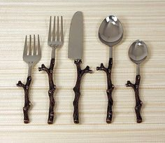 Rustic Copper Twig Design Flatware Western Kitchen and Dining Decor