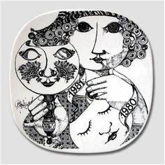 Bjørn Wiinblad Årsplatte, Nymølle 1980 Black And White Posters, Sort, Posca, Fairy Godmother, Ceramic Plates, Danish Design, Artist At Work, Bronze, Pottery