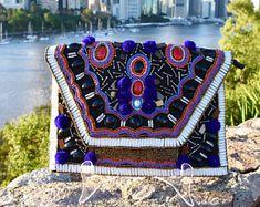 Boho Clutch Bag, Black Clutch Bag, Pom Pom Clutch, Bohemian Clutch,  Clutch Handbag, Beaded Clutch, Leather Clutch, Handmade Clutch,