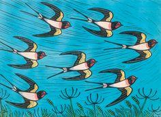 A fine art greeting card by printmaker Gerard Hobson, blank inside for your own message. Lovely Creatures, Bird Illustration, Bird Design, Linocut Prints, Gravure, Bird Art, Sculpture, Beautiful Birds, Textures Patterns