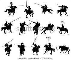 Knights and medieval warriors on horseback detailed silhouettes set. Vector - stock vector