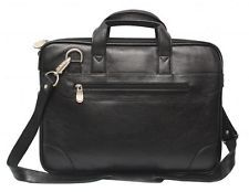 Comfort 14 inch Pure Leather Black Laptop Bag for men and women unisex EL40