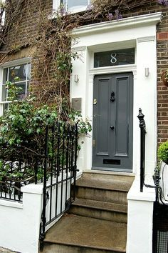 Glossy Dark Grey Door, Red Brick, Big White Trim, Black Accents If You Go  With White, Def Different Colored Door. I Like The Dark Grey :) DOOR COLOR