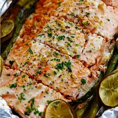 Buttery Garlic Lime Salmon with Asparagus in Foil is so easy to make ...