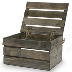 Wood Box The Lucky Clover Trading Company – Antique Grey Wooden Crate Storage Box with Li… Storage Box On Wheels, Storage Boxes With Lids, Wooden Storage Boxes, Crate Storage, Storage Organization, Wooden Crates With Lids, Wood Crates, Diy Wood Box, Wood Boxes
