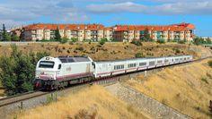 Vossloh Euro Deisel-electric Locomotive, RENFE 334 at Salamanca in Spain