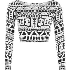 Abbey Monochrome Print Crop Top ($12) ❤ liked on Polyvore featuring tops, black, long sleeve going out tops, going out tops, short crop tops, short tops and party tops