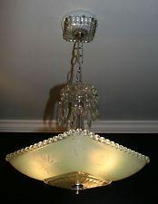 Antique jadeite green square glass custom art deco light fixture chandelier