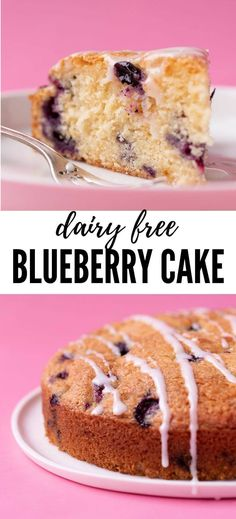 ***Perfect Dairy Free Blueberry Cake ~ made completely from scratch. This easy cake is soft and tender and bursting with fresh blueberries and a drizzle of lemon glaze. Dairy Free Baking, Dairy Free Recipes, Dairy Free Cakes, Gluten Free, Lactose Free, Vegan Recipes, Blueberry Desserts, Blueberry Cake, Sweet Desserts