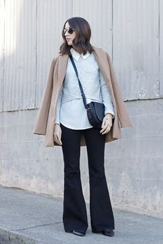 fall / winter - summer outfits - fall outfits - casual outfits - fall outfits - street style - street chic style - business casual - office wear - camel coat + black flare pants + grey sweater + white shirt + black shoulder bag + black flats + aviators