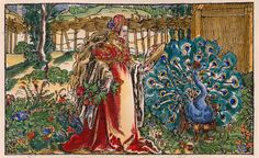 "Petrarch Master, active during first third of 16th c.  ""Von fürtrefflicher Gestalt des Leibs""  (Of the excellent shape of the body; allegory of vanity with mirror and peacock). Woodcut. Colour added later. From: Francesco Petrarca (German), Von der Artzney bay der Glueck, Augsburg, 1532. #vanitas"