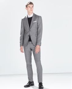 Image 1 of PLAIN GREY WOOL SUIT from Zara