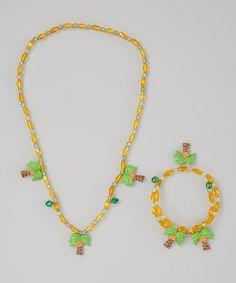 Look at this #zulilyfind! Yellow Palm Tree Pendant Necklace & Bracelet #zulilyfinds