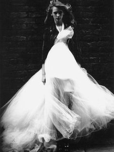 Props to this kinda bridal style-leather jacket and knee length, black combat boots with a big, tulle ball gown kind of wedding dress. White Bridal Dresses, Little White Dresses, Bridal Gowns, Flowy Dresses, Tulle Dress, Pretty Dresses, Glamour, Forever21, Dream Wedding