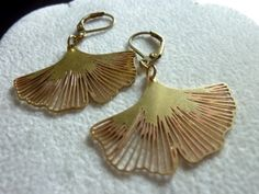 Raw Brass Gingko Earrings