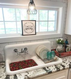 Vintage Farmhouse Decor Bookmark This! How to choose a farmhouse sink and the pros and cons of having one! Offering up the best advice if you're in the market for a farmhouse sink! Vintage Farmhouse Sink, Farmhouse Bathroom Sink, Vintage Sink, Farmhouse Decor, White Farmhouse Sink, Farmhouse Kitchens, Vintage Kitchen Sink, Farmhouse Style, Vintage Stoves