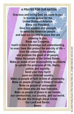 A Prayer for 40 days, starting on for our Nation, our States, and our Leaders. Faith Prayer, My Prayer, Sunday Prayer, Prayer Verses, Prayers For America, Prayer Room, Catholic Prayers, Pray For Us, Morning Prayers