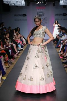 Anushree Reddy Lakme Fashion Week Summer Resort 2014 pink and white gold tulle indian bridal lehnga. More here: http://www.indianweddingsite.com/anushree-reddy-lakme-fashion-week-summer-resort-2014/