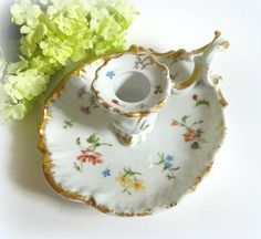 Antique Jean Puyot Limoges Hand Painted Candle Holder Chamberstick