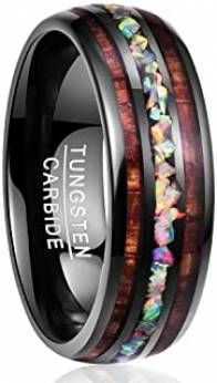 Handmade Genuine Crushed Fire Opal Tungsten Wedding Ring with Hawaii Koa Wood Domed Black Tungsten Wedding Rings, Tungsten Carbide Rings, Hawaii, Wood Rings, Black Rings, Rings For Men, Jewelry, Opal Rings, Engagements