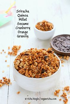 Make your breakfast healthy, sweet, and savory: Sriracha Quinoa Millet Cranberry Orange Peanut Granola.