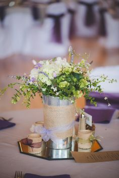 Rustic Burlap-Wrapped Centerpieces