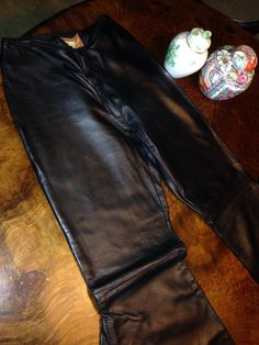 Handmade leather and lace black trousers