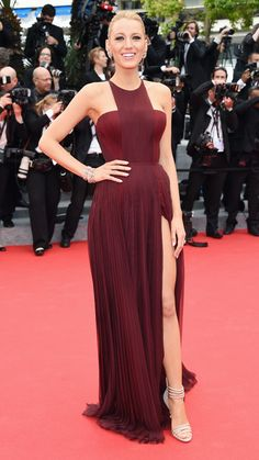 BLAKE LIVELY Lively stole the show in a burgundy column gown by Gucci, Casadei pumps, and Lorraine Schwartz jewels.