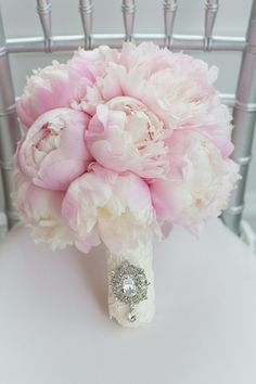 Pink Peony #Bouquet Remind us of puffy clouds I Exquisite Linens and Florals I #weddingbouquet
