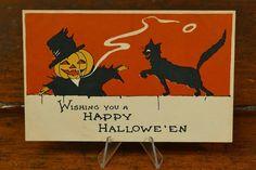 Vintage Halloween Postcard Gibson Lines JOL Scarecrow Smoking Black Cat Unposted St Kitts, Vintage Halloween, Vintage Postcards, Grenada, Trinidad And Tobago, Sri Lanka, Egypt, Smoking, Moose Art