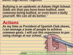 Write A Speech For School Elections  School