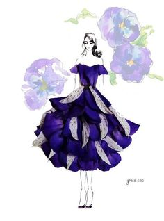 Floral Fashion Illustration by Grace Ciao Grace Ciao, Fashion Drawing Dresses, Fashion Illustration Dresses, Fashion Illustrations, Arte Fashion, Floral Fashion, Trendy Fashion, Violet Dresses, Flower Dresses