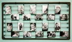 DIY...Great PHOTOGRAPHY display. Take an old children's bed spring frame, paint it to match the room setting, then use the springs to display your photographs on a wall.  Many other ideas here too! http://www.diyphotography.net/diy-photography-wall-art-from-baby-crib-springs