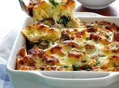 and Spinach Strata (Bread Bake) Chicken and Spinach Bread Bake (Strata) - RecipeTin EatsChicken and Spinach Bread Bake (Strata) - RecipeTin Eats Low Carb Recipes, Cooking Recipes, Healthy Recipes, Strata Recipes, Casserole Recipes, Spinach Bread, Spinach Egg, Recipetin Eats, Oven Dishes