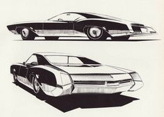 Buick Riviera, styling sketches from Mitchell Era