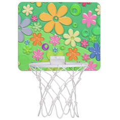 Flower Power in Green Mini Basketball Backboard with Colorful Flower Petals.  Designed by StuffOrSomething.