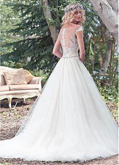 Elegant Off-the-shoulder Ball Gown #WeddingDresses