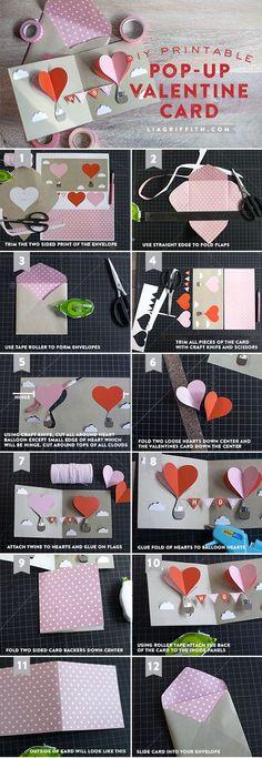 DIY Valentine Pop Up Tutorial #make #valentine