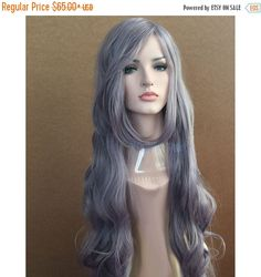 Halloween SALE Super long dusty purple curly wig Taro curly long hair Synthetic  wig - high quality wig - ready to ship. by wigglywigs. Explore more products on http://wigglywigs.etsy.com